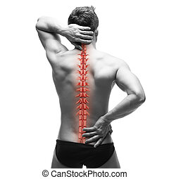 Spine pain, man with backache and ache in the neck, black...