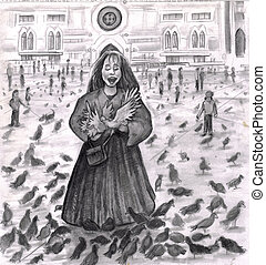 Bird Lady Fun with the Pigeons.