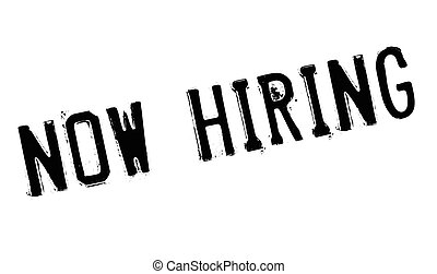 Now hiring stamp. Grunge design with dust scratches. Effects...
