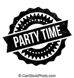 Party time stamp. Grunge design with dust scratches. Effects...