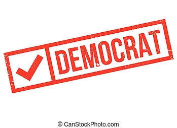Democrat stamp. Grunge design with dust scratches. Effects...