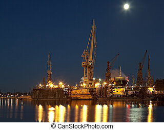 Dry dock in the shipyard - Dry dock in the moonlight at the...