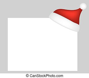 Hat of Santa Claus with a blank white banner