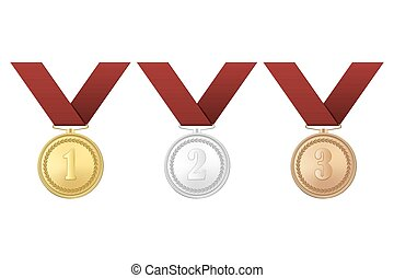 Vector gold, silver and bronze award medals with red ribbons set isolated on white background. The first, second, third prizes.
