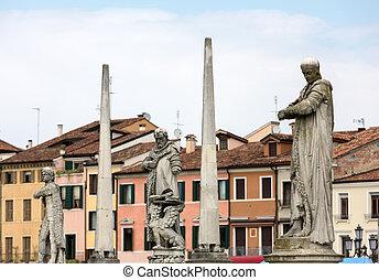Statues on Piazza Prato della Valle, Padua, Italy.