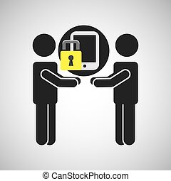 silhouette men smartphone internet safety
