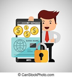 business man secure money online credit card