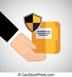 security concept hand with folder
