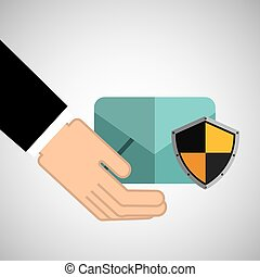 security concept hand with email