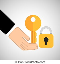 security concept hand with key