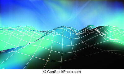 Wire low poly mountain abstract looping background -...