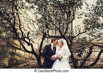 Just married stand under a tree in the courtyard