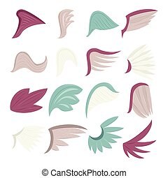 Wings icons set, cartoon style - Wings icons set. Cartoon...