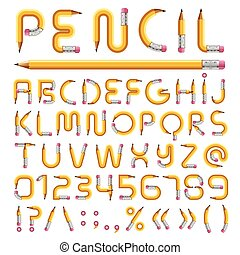 Pencil alphabet with numbers vector illustration - Pencil...