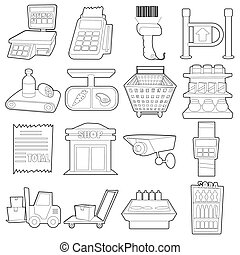 Supermarket items icons set, outline cartoon style -...