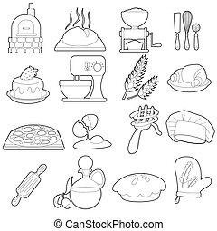 Bakery production icons set, outline cartoon style - Bakery...