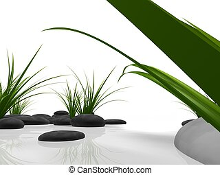 wellness - 3d rendered illustration of black stones and...