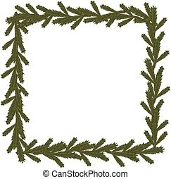 Christmas coniferous frame, isolated vector