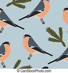Seamless pattern bullfinch blue, vector