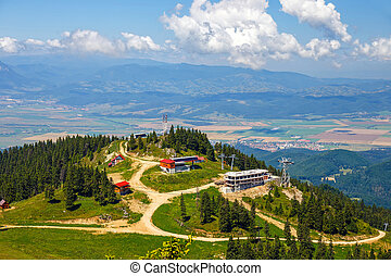 Mountain ski resort in Postavarul Massif, Poiana Brasov,...