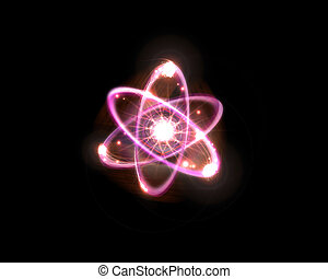 Atomic Particle 3D Illustration - Close up of pink atomic...