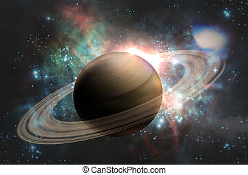 Planet Saturn Galaxy - Saturn planet solar system with stars...