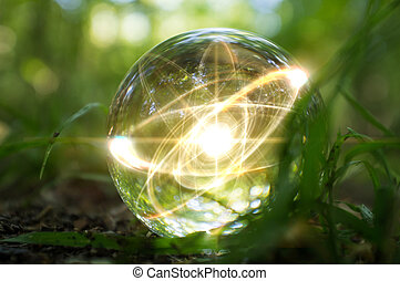 Atom Crystal Ball Nature - Magic crystal ball atom on forest...