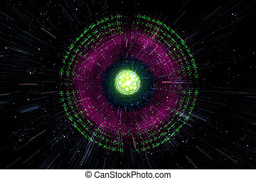 Atomic Particle 3D Illustration - Close up of colorful neon...
