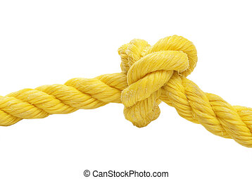 Tied Knot Rope - A tied knot in a yellow rope over a white...