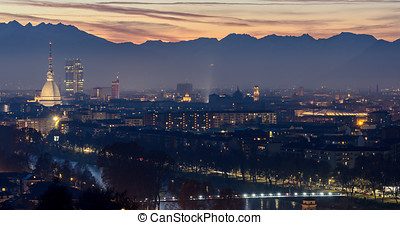 Turin (Torino) beautiful landscape with Mole Antonelliana at...