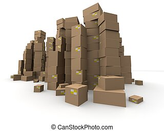 3d cartons - 3d rendered illustration of many stacked boxes