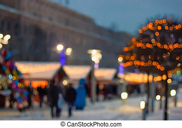 Christmas fair blurred background - Christmas and New Year...