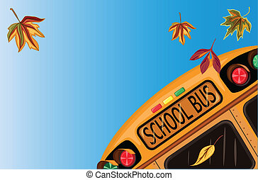 Back to School in September with school bus and autumn...