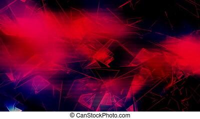 Broken geometric loop neon black and red - Looping animated...