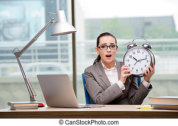 Businesswoman failing to meet challenging deadlines