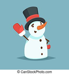 Happy Snowman in black hat and red mitten vector icon flat...