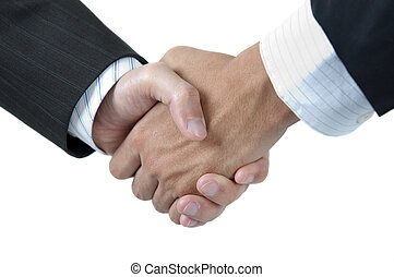 Hands shaking - Businessmen shaking hands isolated on white...