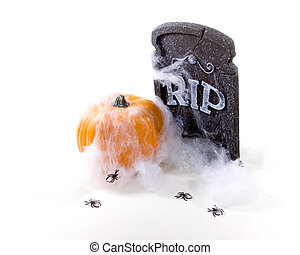 RIP Cemetery Headstone, Pumpkin, Spider Web and Spiders -...