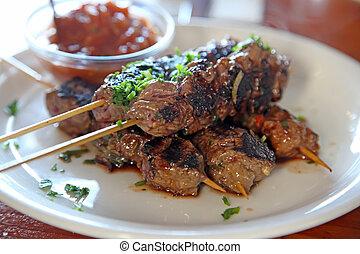 Lowfat meat beef skewers - Meat beef skewers kebobs lowfat...