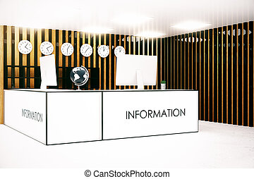 Info desk side - Side view of modern infromation desk with...