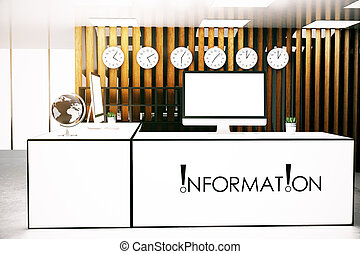 Info desk front - Front view of modern infromation desk with...
