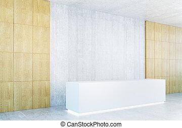 Blank reception desk side