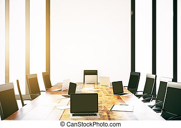 Empty laptops on conference table - Empty laptops on wooden...