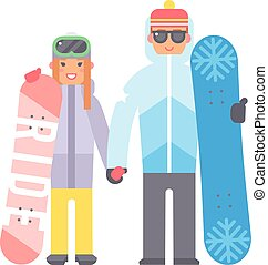 Skiing snowboard man and woman vector. - Skiing man and...