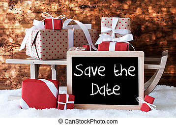 Sleigh With Gifts, Snow, Bokeh, English Text Save The Date -...