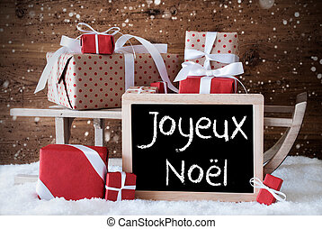 Sleigh With Gifts, Snow, Snowflakes, Joyeux Noel Means Merry...