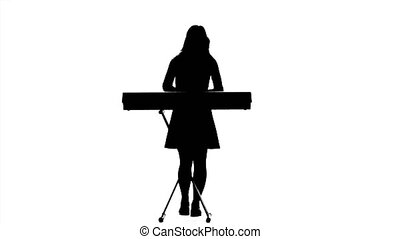 Silhouette of a girl playing the piano. White background....