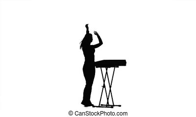 Woman dj playing the piano. Silhouette on a white background...