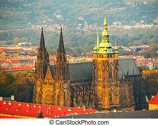 Aerial view of St Vitus Cathedral and Castle in Prague from...
