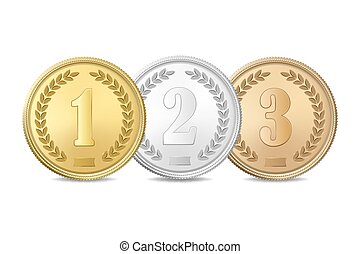 Vector gold, silver and bronze award medals set isolated on white background. The first, second, third prizes.